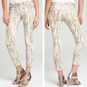 FREE PEOPLE  Feather Print Cropped Skinny Jean 26